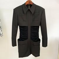 112 XL 2020 envío gratis otoño verde negro manga larga tripulación Cuello de cordón vestido de cordón moda vestido de moda ropa para mujer Oulai