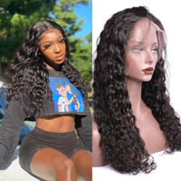 Indiano 24 polegadas Longa Cabelo Humano Perucas Frontais Para Mulheres Negras Water Wave Wig 13 por 4 Splicing Wig 150% Density