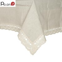 Paño de mesa Beige 70% de lino cubierta de lino borde de encaje rectangular nappe a prueba de polvo mantel casa de boda casero decoración PA.AN1