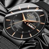 Montres Mens Montres Lige Top Marque Luxe Étanche Ultra Thin Araille Horloge Homme Steel Strap Casual Quartz Hommes Sports Montre-Bracelet