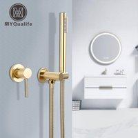 Torneiras de banheira Myqualife escovado banheiro ouro torneira 2 função Facuet parede montagem fria e chuveiro