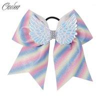 "Acessórios de cabelo 7 ""Grande arco-íris Glitter Bow Bow com Elastic Band Wing Rhinestone Cheerleading Girl Titular Acessórios1"