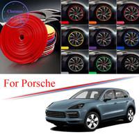 Gordure de hub de roue de voiture multi-couleurs de 8 m pour Porsche Macan Cayenne 718 911Panamera Edge Protector Bague Pneu Strip Stickers en caoutchouc
