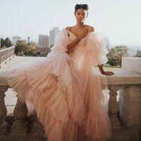 Abiti da ballo della maternità del tulle piuttosto rosa dei vestiti dei vestiti a grossolano a linea Abiti da sera Abiti da sera Puff a maniche piene Le donne lunghe Robes de Soirée Plus Size AL8037