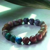 Stretch Perlen-Stränge Armbänder Universum Naturstein Achat Armband für Frauen Männer Modeschmuck Wille und Sandy