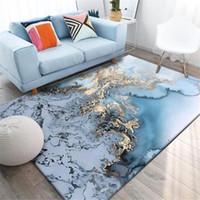 Soyut Mavi Altın Deniz Suyu Sehpa Halı Oturma Odası Için Kaymaz Mutfak Kilim Ev Yatak Odası Başucu Mat Paspas Nordic