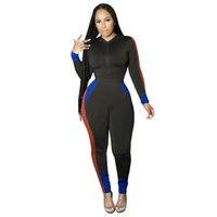 Panelled Designer Fashion Womens Tracksuits Contrast Color T...