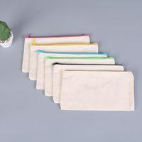6 cores em branco sublimação de calor estudante saco de lápis 4 tamanho mulheres maquiagem bolsa mini canvas armazenamento mão bolsa de mão diy transferência de calor carteira de impressão