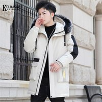 KOLMAKOV Long Parkas Men Cotton Padded Brand Clothing Fashion Patchwork Thick Warm Men's Jacket Fur Hooded Coat Size M-3XL