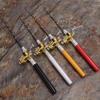 Алюминиевый сплав ручка рыболовный стержень мини карманный рыбный столб катушки комбо легкие телескопические удочки с катушкой