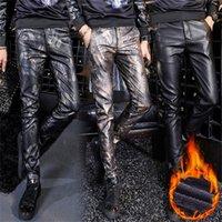 Männer Gedruckte Lederhose Winter Fleece Warme PU-Leder Lässige Hose Hohe Qualität Lange Dicke Elastische dünne Pencil Pants 201218