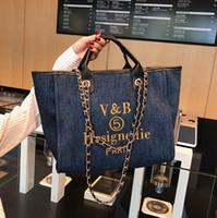 2021 Новые Женщины Tote Холст Сумки Европейская и Американская Мода Цепи Сумка Beed Bag Сумка Messenger Путешествия Джинсовая сумка