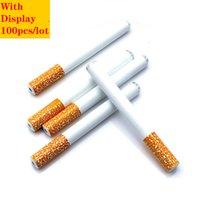 Forma de aluminio creativo de alta calidad Forma de cigarrillo de aluminio Tubería de fumar Limpiador portátil Fumar Snortal Herb Tobacco Pipe DHL gratis