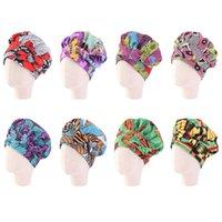 Ekstra Büyük Çocuk Kız Saten Çizgili Bonnets Şapka Afrika Türban Şapka Kadınlar Ankara Uzun Şerit Headwrap Ankara Saç Kaput Şapka