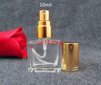 350pcs/lot 10ml Square Perfumes Mist Sprayer Glass Container Clear Perfume Makeup Setting Spray Pump Atomizer Bottles
