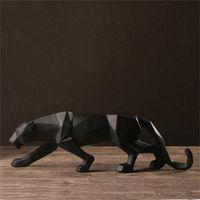 Resina Abstract Black Panther Scultura Figurina Artigianato Home Desk Desk Decor Geometrica Resina Fauna selvatica Statua della statua del leopardo