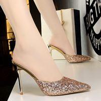 Donne Summer Sexy 9.5cm Tacchi alti Pantofole Muli Glitter Bling Slifts Lady Fetish Flops Femmina Paillettes Gold Prom ShoesMultifunzione