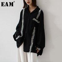 [EAM] Kadın Asimetrik Bölünmüş Büyük Boy Bluz Yeni Yaka Uzun Kollu Gevşek Fit Gömlek Moda Gelgit İlkbahar Sonbahar LJ200923