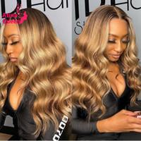 Кружевные парики OMBRE Highlight Wig Brown Мед Блондинка Remy Прозрачная Бразильская Натуральная Волна Глубокая Часть 13x6 HD Фронтальное закрытие