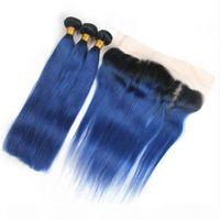 عذراء بيرو أومبير الأزرق الشعر البشري 3 حزمة صفقات مع كامل الرباط أمامي 13x4 حريري مستقيم # 1B الأزرق أومبير نسج حزم مع أمامي
