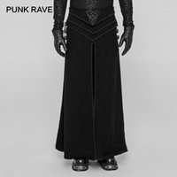 Punk Rave Gothic Party Retro Japón Cosplay Hombre Falda Pantalones Emo Performance Victorian Retro Jacquard Skirt1