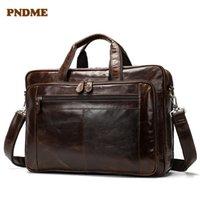HBP PNDME Vintage Genuine Couro Homens Laptop Capacidade Laptop Mão Negócios Luxo Real Cowhide Work Travel Messenger Bag q0112