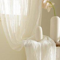 Rideau rideaux rideaux blancs pour salon Tulle Chambre à coucher Traitements de la fenêtre de coton Tentre de Ten-pied
