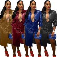 Weibliche Kleidung Damen Designer Lange Windjacke V Hals Mesh Spleißen Pu Jacke Feste Farbe Mode Lässig