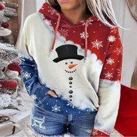 여성용 후드 스웨터 여성 2021 크리스마스 눈사람 버튼 인쇄 숙 녀 후드 후드 긴팔 캐주얼 풀오버 탑스 # 3