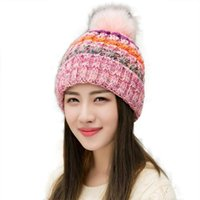 Berretto / cranio Caps inverno caldo reale grande grande foce pelliccia pompa beanie per donna rosa cappelli a colori adolescente ragazza striped style carino 10059