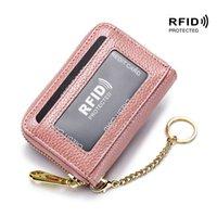 Titular de la tarjeta de bloqueo RFID Mini billetera Cuero genuino Anti-Robo Pincel Montones de cremallera Cola de vacuno corta monedero monedero
