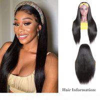 Doğal Renk Kafa Peruk İnsan Saç Peruk Brezilyalı Remy Saç Düz Peruk Siyah Kadınlar Için Bebek Saçlı