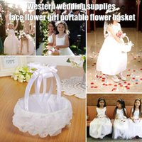 New Wedding White Flower Basket Lace Ribbon Candy Storage Basket Western Wedding Supplies DNJ998