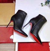 [Оригинальная коробка] Новые сексуальные женские высокие каблуки 100 мм ботинок красная нижняя лодыжка зима реальные кожаные насосы парижские ботинки свадебные туфли размером 35-42 DHGATE