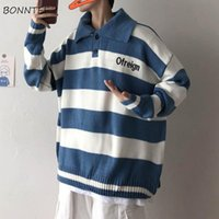 Men's Sweaters Men Pullovers Turn-down Collar Striped Student Lazy All-match Ins Knitted Casual Fashion Korean Style Loose Ulzzang Male Swea
