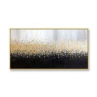 Pintura decorativa de Abstart Pintura pintada a mano pura pintura al óleo sobre lienzo de oro y paisaje negro Imagen de arte de pared para sala de estar