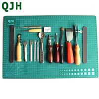 أدوات الخياطة المفاهيم QJH 16 قطع كرافت الجلود مجموعة diy اليدوية لكمة edger خندق جهاز حزام puncher a3 pvc قطع حصيرة patchwork1