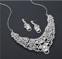cool up-market fashion Luxury party diamond crystal zircon bride wedding lady's set necklace earings