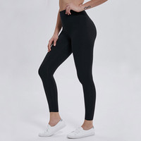 LU-32 Solid Color Damen Yogahosen High Waist Sports Gym Wear Leggings Elastic Fitness Lady Insgesamt volle Strumpfhose Workout