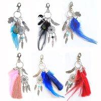 Dream Catcher Key Boucle Boucle Naturel Cristal Agate Feather TyeRing Sac Femme Sac Cinkchain Accessoires Fashion Haute Qualité 6 5AR M2