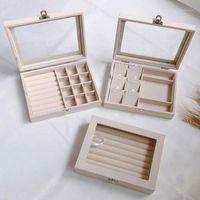 الحقائب المجوهرات، أكياس البيج المخملية عرض مربع حالة للحارing أقراط أساور القلائد تخزين المنظم 1