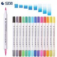 STA 14 Adet / 28 Renkler Suluboya Çift Fırça 28 Bukalemun Sanatı Renk Yumuşak Kaligrafi Kalemler Aquarelle Markers 201222