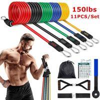 Faixas de resistência 150 libras de exercício 11pcs com alças exercícios de fitness Equipamento de porta de tintas de tornozelo para ginásio em casa