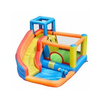 Casas de salto residencial de verão com slide piscina jardim supplie water park combo escalada use playground ao ar livre w / ventilador