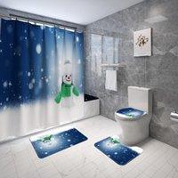 Chuveiro cortinas Feliz Natal banheiro conjunto bonito boneco de neve non-slip estima tampa tampa tampa de capa feliz ano cortina com ganchos