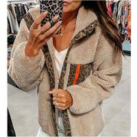 Womens Leopard Splicing Jackets Fashion Trend Long Sleeve All-match Fleece Zipper Outerwear Designer Female Winter Casual Thicken Warm Coats