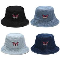 Breite Rand Hüte Schmetterling Stickerei Jeans Eimer Hut Frauen Sommer 2021 Designer Panama Bob Chapeau Femme Angelkappe Frau