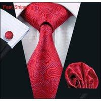 Красный Paisely Mens Tie Set Hanky Запонки Шелковый Жаккардовый Мужской Тканый Классический галстук Доставка N-0293 Edhio