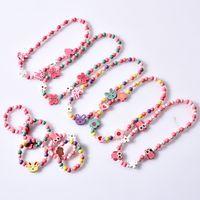 Детские аксессуары ожерелье браслет костюм эластичный бисером цепи деревянный цветок лиса бабочка ожерелья девушка мода милая 2 6 мд n2