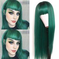 Uzun Ipeksi Düz Sentetik Yedek Saç Peruk Yeşil Ombre Ipek Baz Peruk Tam Düzgün Bataklık Isıya Dayanıklı Yok Dantel Peruk Moda Kadınlar